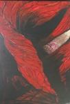"2011 80 x 60 Rød flamingoblomst ""Diablo"" med sort ramme - akryl"