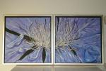 2011 2-delt 40 x 40 Blå klematis m. sølv ramme - akryl