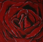 2008 07.04. 40 x 40 Sort/Rød rose m. sølv ramme - akryl