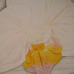 2011 100 x 100 Hvid orkide - akryl