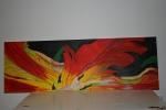 2011 30 x 90 Gul rød tulipan under bearbejdning - akryl