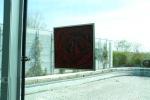 40 x 40 Rød sort rose m. sølv ramme - akryl