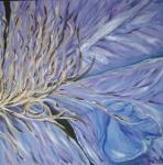 2011 2-delt 40 x 40 Blå klemetis  2 af 2 Højre m. sølv ramme - akryl