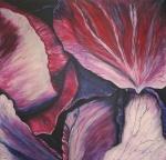 2010 30.06. 100 x 100 Visne rosenblade m. sølv ramme - akryl