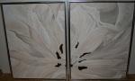 2011 2-delt 2 x 80 x 60 Beige tulipan m. sølv ramme - akryl